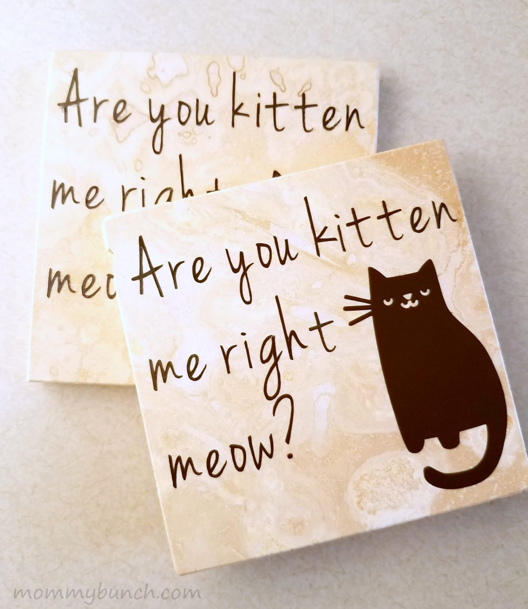 Are You Kitten Me Right Meow? DIY Coasters with Vinyl!